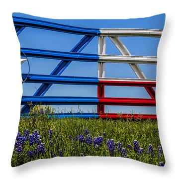 Texas Flag Painted Gate With Blue Bonnets Throw Pillow