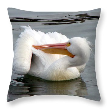 Throw Pillow featuring the photograph Texas Gulf Coast White Pelican by Linda Cox