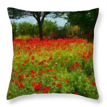 Texas Hill Country Corn Poppies Throw Pillow by Michael Flood