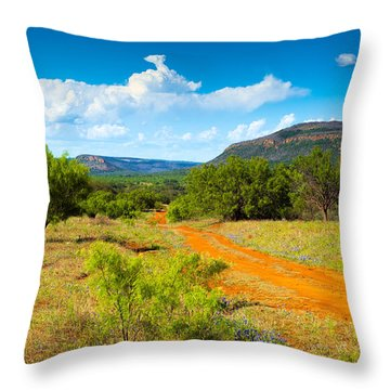 Texas Hill Country Red Dirt Road Throw Pillow