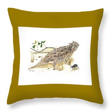 Texas Horned Lizard Throw Pillow by Cindy Hitchcock