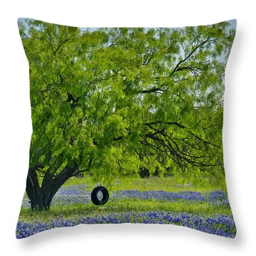 Throw Pillow featuring the photograph Texas Life - Bluebonnet Wildflowers Landscape Tire Swing by Jon Holiday