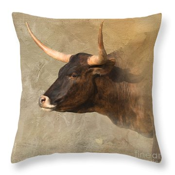 Texas Longhorn # 3 Throw Pillow by Betty LaRue