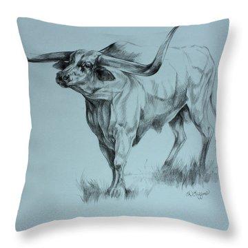 Texas Longhorn Throw Pillow by Derrick Higgins