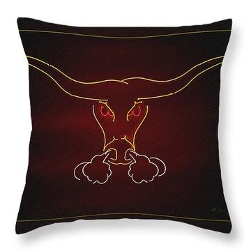 Texas Longhorn Photoart 1 Throw Pillow by Walter Herrit