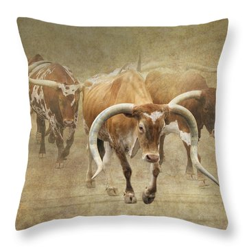 Texas Longhorns 2 Throw Pillow by Angie Vogel