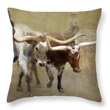 Texas Longhorns Throw Pillow by Angie Vogel
