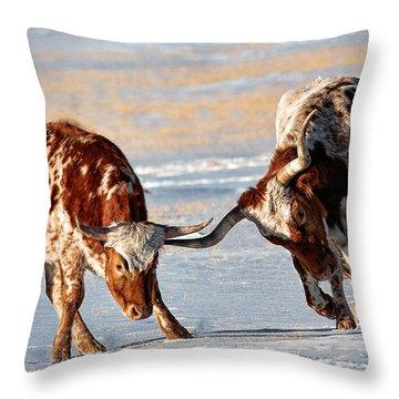 Texas Longhorns Throw Pillow by Lena  Owens OLena Art