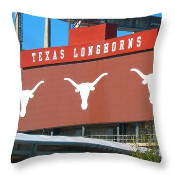 Throw Pillow featuring the photograph Texas Longhorns Sign by Connie Fox