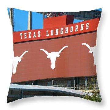 Texas Longhorns Sign Throw Pillow by Connie Fox