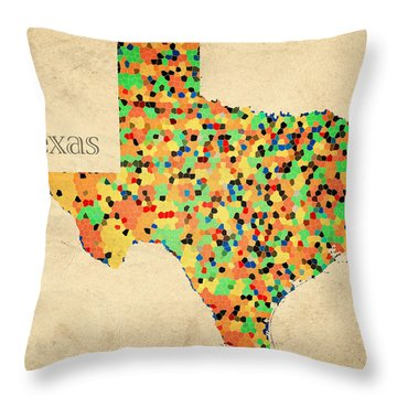 Texas Map Crystalized Counties On Worn Canvas By Design Turnpike Throw Pillow by Design Turnpike