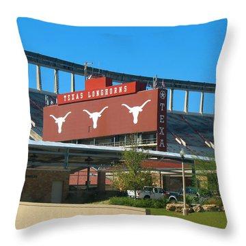 Texas Memorial Stadium - U T Austin Longhorns Throw Pillow