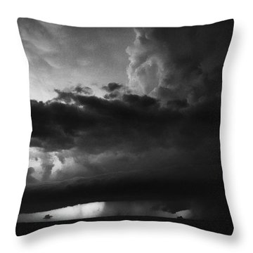 Texas Panhandle Supercell - Black And White Throw Pillow by Jason Politte