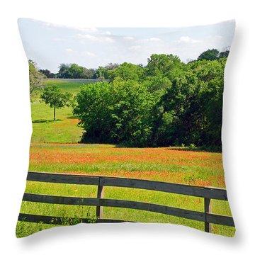 Texas Prairie - Gentle Hills In Springtime Throw Pillow