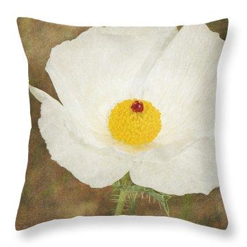 Texas Prickly Poppy Wildflower Throw Pillow