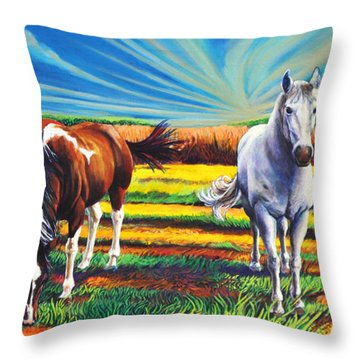 Throw Pillow featuring the painting Texas Quarter Horses by Greg Skrtic