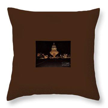 Texas State Capital Throw Pillow by John Telfer