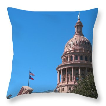 Texas State Capitol With Pediment Throw Pillow by Connie Fox