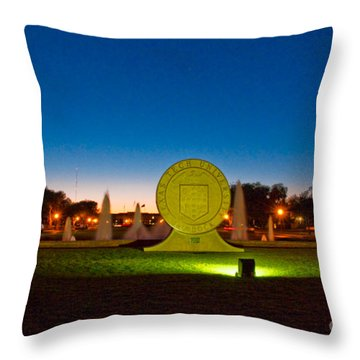Throw Pillow featuring the photograph Texas Tech Seal At Night by Mae Wertz