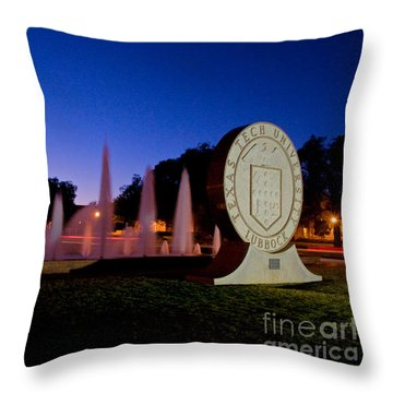 Throw Pillow featuring the photograph Texas Tech University Seal And Blue Sky by Mae Wertz