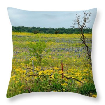 Texas Wildflowers And Mesquite Tree Throw Pillow