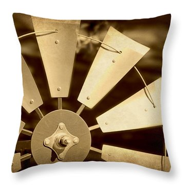Texas Windmill Throw Pillow