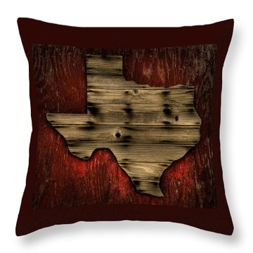 Texas Wood Throw Pillow by Darryl Dalton