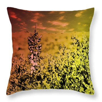Texas Yucca Flower Throw Pillow
