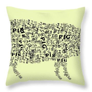 Text Pig Throw Pillow