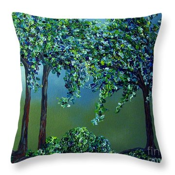 Texture Trees Throw Pillow by Eloise Schneider