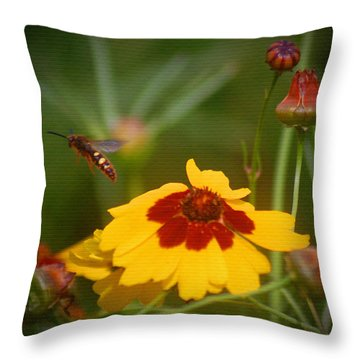 Throw Pillow featuring the photograph Textured Bee by Leticia Latocki