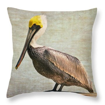 Textured Brown Pelican Throw Pillow