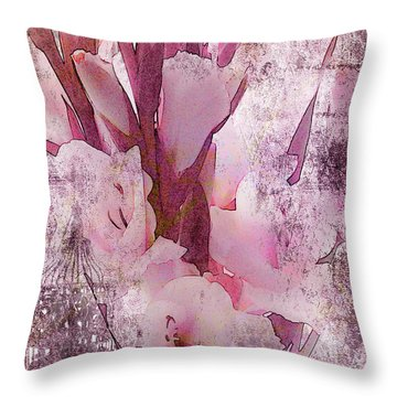 Throw Pillow featuring the photograph Textured Pink Gladiolas by Sandra Foster