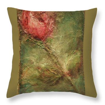 Throw Pillow featuring the painting Textured Rose Art by Mary Wolf