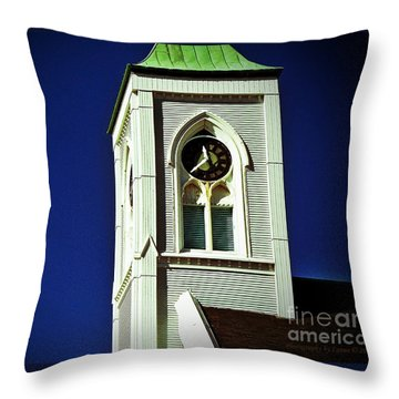 Throw Pillow featuring the photograph Textured Steeple Clock by Gena Weiser