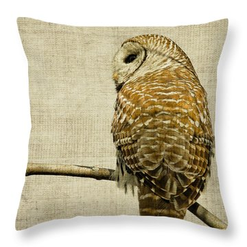 Textured Strix Varia Throw Pillow by Michel Soucy