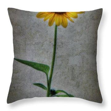 Textured Sunflower 1 Throw Pillow by Lori Deiter