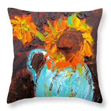 Textured Sunflowers Throw Pillow by Marita McVeigh