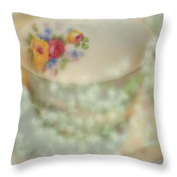 Textured Tea Cup Throw Pillow by Barbara S Nickerson