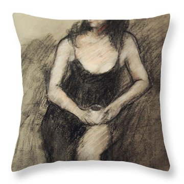 Throw Pillow featuring the painting Tha Last Day by Becky Kim