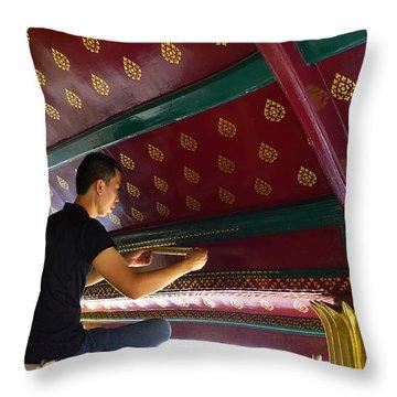 Thai Artisan At Work Throw Pillow