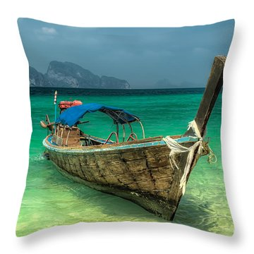 Thai Boat  Throw Pillow by Adrian Evans