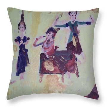 Thai Dance Throw Pillow by Judith Desrosiers