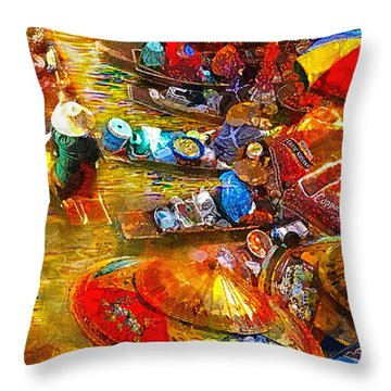 Thai Market Day Throw Pillow by Mo T