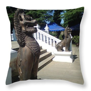 Thai Temple Steps Throw Pillow