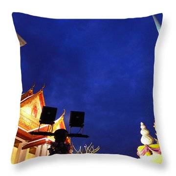 Thai Temple Sunset Throw Pillow
