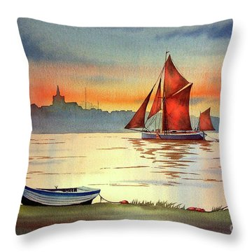 Thames Barge At Maldon Essex Throw Pillow