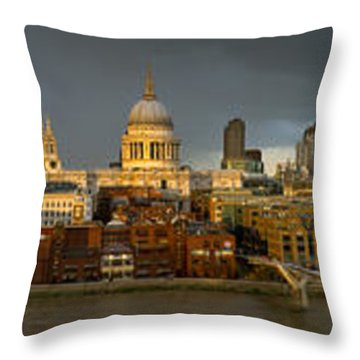 Thames With St Paul's Panorama Throw Pillow