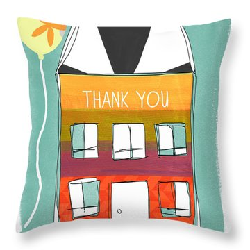 Thank You Card Throw Pillow by Linda Woods
