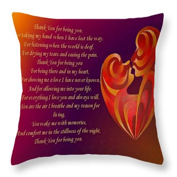 Thank You For Being You Poetry  Throw Pillow